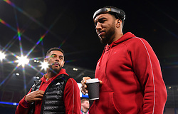 Watford's Andre Gray (left) and Troy Deeney inspect the pitch before the game during the Premier League match at the Cardiff City Stadium.