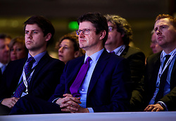 © Licensed to London News Pictures. 21/11/2016. London, UK. Secretary of State for Business, Energy and Industrial Strategy GREG CLARK watches British Prime minister Theresa May speak at the Confederation of British Industry (CBI) conference, held at Grosvenor House in London.  Photo credit: Ben Cawthra/LNP