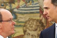 042216 King Felipe attends a meeting with Prince Albert II of Monaco