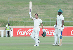 Johannesburg 19-12-18. South Africa Invitation XI vs Pakistan. Pakistan open their tour of South Africa with a three-day match at Sahara Willowmoore Park, Benoni. Day 1. Marques Ackerman is raises his bat after getting his century during the late afternoon session, with him is batting partner Thandolwethu Mnyaka . Picture: Karen Sandison/African News Agency(ANA)