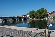 """Henley. Berks, United Kingdom. <br /> <br /> Exeter Scull rests the scull against the railinf on the, """"Leander railings"""" at the 2017 Henley' Women's Regatta. Rowing on, Henley Reach. River Thames. <br /> <br /> <br /> Saturday  17/06/2017<br /> <br /> <br /> [Mandatory Credit Peter SPURRIER/Intersport Images]"""
