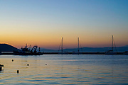 The port of Thasos, Greece at sunset