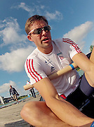 Munich, GERMANY,    General Views, GV's,  of the Boathouse and  Boating Area, GBR M4-. Peter REED  Boating for their morning training outing. 2012 World Cup III on the Munich Olympic Rowing Course,  Thursday  14/06/2012  [Mandatory Credit Peter Spurrier/ Intersport Images]..