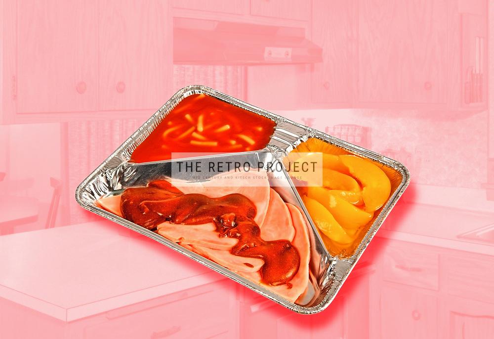 TV Dinner Meal on atomic pink mid century kitchen background