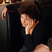 NLD/Amsterdam/20061108 - Groen Links lijsttrekker Femke Halsema in Panama Amsterdam tijdens een interview aan de telefoon