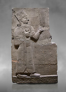 Hittite relief sculpted orthostat stone panel of Long Wall Basalt, Karkamıs, (Kargamıs), Carchemish (Karkemish), 900-700 B.C. Anatolian Civilisations Museum, Ankara, Turkey<br /> <br /> Goddess Kubaba. Goddess is depicted from the profile. She holds a pomegranate in her hands on her chest. She carries a one-horned headdress on her head. Her braided hair hangs down to her shoulder . <br /> <br /> On a grey art background. .<br />  <br /> If you prefer to buy from our ALAMY STOCK LIBRARY page at https://www.alamy.com/portfolio/paul-williams-funkystock/hittite-art-antiquities.html  - Type  Karkamıs in LOWER SEARCH WITHIN GALLERY box. Refine search by adding background colour, place, museum etc.<br /> <br /> Visit our HITTITE PHOTO COLLECTIONS for more photos to download or buy as wall art prints https://funkystock.photoshelter.com/gallery-collection/The-Hittites-Art-Artefacts-Antiquities-Historic-Sites-Pictures-Images-of/C0000NUBSMhSc3Oo