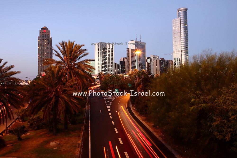 Israel, Tel Aviv, Long exposure Night shot of Ayalon highway