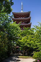 Shido-ji Temple Pagoda- Shidoji is the 86th temple in the Shikoku Pilgrimage Buddhist trail.  Shido-ji is one of the more important temples along the henro pilgrims trail as it is towards the end of the long journey only two temples from the end of the trek.