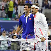 Roger Federer, Switzerland and Novak Djokovic, Serbia, pose for pictures before the Men's Singles Final during the US Open Tennis Tournament, Flushing, New York, USA. 13th September 2015. Photo Tim Clayton
