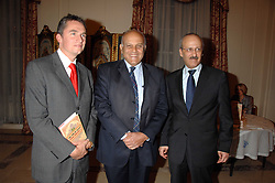 Left to right, ROWAN SOMERVILLE, PROF.SIR MAGDI YACOUB and The Egyptian Ambassador HE GEHAD MADI at a party to celebrate the publication of The End of Sleep by Rowan Somerville held at the Egyptian Embassy, London on 27th March 2008.<br /><br />NON EXCLUSIVE - WORLD RIGHTS
