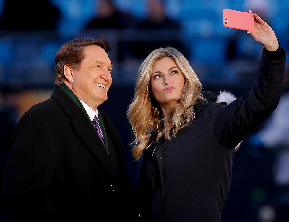 CHARLOTTE, NC - JAN 24:  Fox Sports sideline correspondents Chris Myers (left) and Erin Andrews pose for a selfie before the NFC Championship game between the Carolina Panthers and the Arizona Cardinals at Bank of America Stadium on January 24, 2016 in Charlotte, North Carolina.