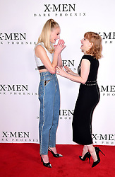 Sophie Turner and Jessica Chastain (right) attending the X-Men: Dark Phoenix photocall held at Picturehouse Central, London.
