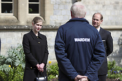 The Earl of Wessex, with his daughter Lady Louise Windsor, attends the Sunday service at the Royal Chapel of All Saints at Royal Lodge, Windsor, following the announcement on Friday April 9, of the death of the Duke of Edinburgh at the age of 99. Picture date: Sunday April 11, 2021.