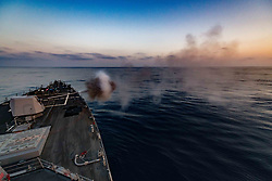 PACIFIC OCEAN (Aug. 8, 2018) The guided-missile destroyer USS Sterett (DDG 104) fires its Mark 45 5-inch lightweight gun as the ship conducts a live-fire exercise. Sterett is underway in the U.S. 3rd Fleet area of operations. (U.S. Navy photo by Fire Controlman (Aegis) 2nd Class Scott Rogers/Released)180804-N-ZA156-0003