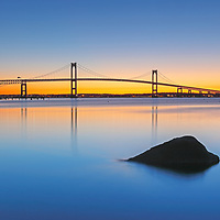 Rhode Island sunrise photographs of the Claiborne Pell Bridge are available for image licensing and as museum quality photography prints, canvas prints, acrylic prints, wood prints or metal prints. Wall art prints may be framed and matted to the individual liking and room decor needs:<br />
