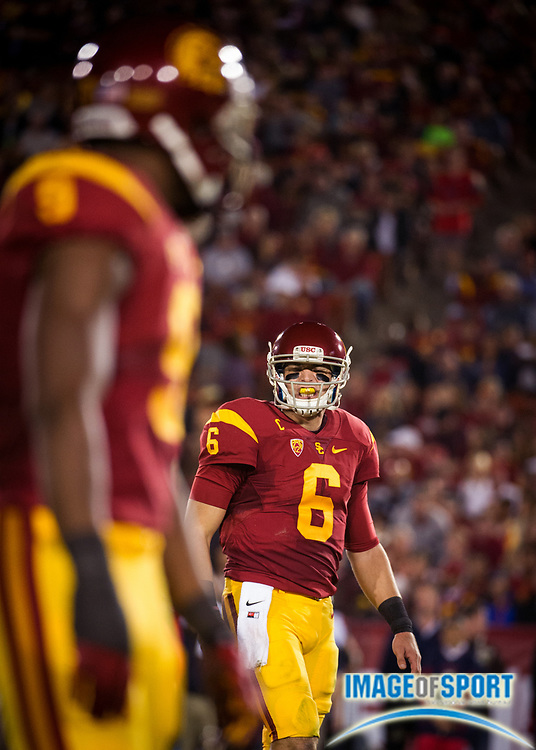 Nov 7, 2015; Los Angeles, CA, USA; Southern California Trojans quarterback Cody Kessler (6) talks to his receiver Juju Smith-Schuster (9) during the game against the Arizona Wildcats at Los Angeles Memorial Coliseum. Photo by Ed Ruvalcaba