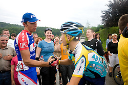 Winner Blaz Jarc and Jani Brajkovic at Slovenian National Championships in Road cycling, 178 km, on June 28 2009, in Mirna Pec, Slovenia. (Photo by Vid Ponikvar / Sportida)