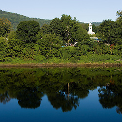 A church in Windsor, Vermont as seen from across the Connecticut River.  Cornish, New Hampshire
