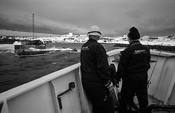 Approaching the island Grimsey, north of Iceland and the sailors get prepared. - Skip nálgast Grímsey og sjómenn gera klárt