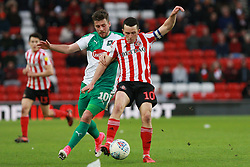 March 2, 2019 - Sunderland, England, United Kingdom - Sunderland's George Honeyman contests for the ball with Plymouth Argyle's Graham Carey during the Sky Bet League 1 match between Sunderland and Plymouth Argyle at the Stadium Of Light, Sunderland on Saturday 2nd March 2019. (Credit Image: © Mi News/NurPhoto via ZUMA Press)