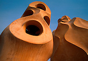 SPAIN, BARCELONA, GAUDI Casa Mila 'La Padrera' chimney forms