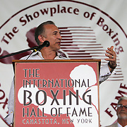 """CANASTOTA, NY - JUNE 14: Ray """"Boom Boom"""" Mancini speaks to the crowd during the induction ceremony at the International Boxing Hall of Fame induction Weekend of Champions events on June 14, 2015 in Canastota, New York. (Photo by Alex Menendez/Getty Images) *** Local Caption *** Ray """"Boom Boom"""" Mancini"""