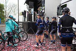 Hitec Products Cycling Team riders wait at the podium before signing on before the start of the Tour de Yorkshire - a 122.5 km road race, between Tadcaster and Harrogate on April 29, 2017, in Yorkshire, United Kingdom.