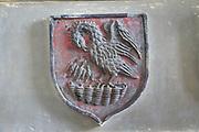 Pelican badge on memorial hatchment, Church of Saint Gregory, Hemingstone, Suffolk, England, UK