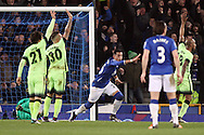 Ramiro Funes Mori of Everton celebrates after scoring his teams 1st goal while the Manchester city players all appeal for an offside. Capital one cup semi final 1st leg match, Everton v Manchester city at Goodison Park in Liverpool on Wednesday 6th January 2016.<br /> pic by Chris Stading, Andrew Orchard sports photography.