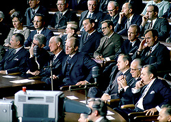 Washington, D.C. - January 14, 1969 -- Republican members of the United States House of Representatives listen as United States President Lyndon B. Johnson delivers his final State of the Union (SOTU) Address to a Joint Session of the United States Congress in Washington, D.C. on January 14, 1969. The House Minority Leader, United States Representative Gerald R. Ford (Republican of Michigan) looks on from a from his seat at left center and United States Representative George H.W. Bush (Republican of Texas) looks on from center right. Photo by Arnie Sachs/White House/CNP/ABACAPRESS.COM