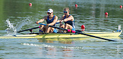 Plovdiv, Bulgaria, 10th May 2019, FISA, Rowing World Cup 1,  Boat Park area, USA Rowings Women's Squad, USA4,  W2-, Bow, Olivia COFFEY and Emily HUELSKAMP,  at the Start,[© Peter SPURRIER]