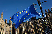 The stars of the EU flag fly over the Houses of Parliament in Westminster, seat of government and power of the United Kingdom during Brexit negotiations with Brussels, on 23rd November 2017, in London England.