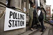 Polling station at Shoreditch Town Hall during the UK's EU Referendum Polling Day on June 23rd 2016 in London, United Kingdom. Membership of the European Union has been a topic of debate in the UK since the country joined the EEC, or Common Market in 1973. It will be the second time the British electorate has been asked to vote on the issue of Britain's membership: the first referendum being held in 1975, when continued membership was approved by 67% of voters. The two sides are the  Leave Campaign, commonly referred to as a Brexit, and those of the Remain Campaign who are also known as the In Campaign. (photo by Mike Kemp/In Pictures via Getty Images)