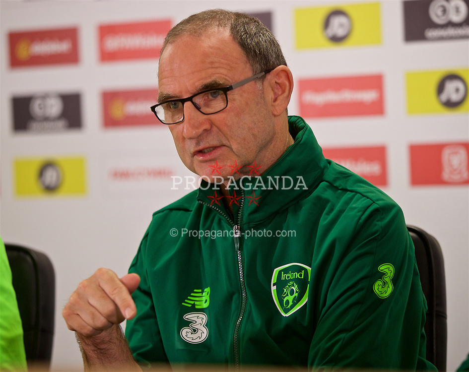 CARDIFF, WALES - Wednesday, September 5, 2018: Republic of Ireland's head coach Martin O'Neill during a press conference at the Cardiff City Stadium ahead of the UEFA Nations League Group Stage League B Group 4 match between Wales and Republic of Ireland. (Pic by David Rawcliffe/Propaganda)