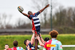 Tomi Adgebite of Bristol Academy U18 claims the lineout - Mandatory by-line: Craig Thomas/JMP - 03/02/2018 - RUGBY - SGS Wise Campus - Bristol, England - Bristol U18 v Harlequins U18 - Premiership U18 League