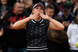 May 30, 2019 - Paris, FRANCE - Amanda Anisimova of the United States celebrates winning her second-round match at the 2019 Roland Garros Grand Slam tennis tournament (Credit Image: © AFP7 via ZUMA Wire)