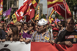 May 1, 2019 - Barcelona, Catalonia, Spain - Protestors during a manifestation organized by the mayor unions CC.OO and UGT through the city center of Barcelona to protest for more rights, equality and cohesion under the motto 'the persons first' on 1st of May. (Credit Image: © Matthias OesterleZUMA Wire)