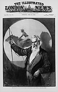 Eadwaerd Muybridge (1830-1904) English-born American inventor and photographer, giving a talk to the Royal Society, London,  England, on his photographic studies of animal motion. May 1889.