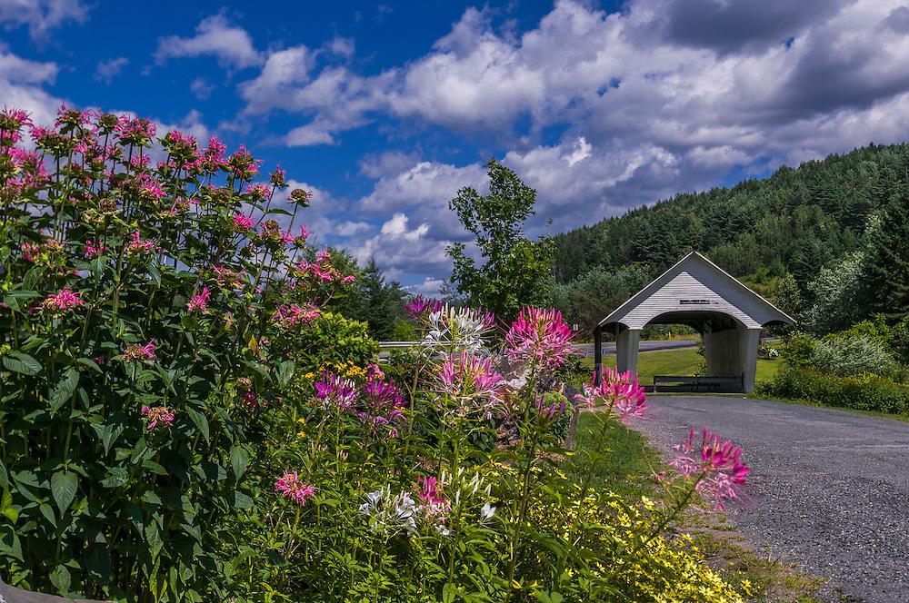 School House Bridge and summer flowers, Lyndon, VT