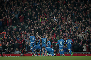The AFC Bournemouth players celebrate scoring the equalising goal, to make it 2-2 in the 87th minute during the Premier League match between Liverpool and Bournemouth at Anfield, Liverpool, England on 5 April 2017. Photo by Mark P Doherty.