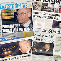 USE ARROWS ← → on your keyboard to navigate this slide-show<br /> <br /> Front covers of the Belgian press the day after Van Rompuy's nomination as Prime Minister. <br /> Ezequiel Scagnetti's coverage for Reuters