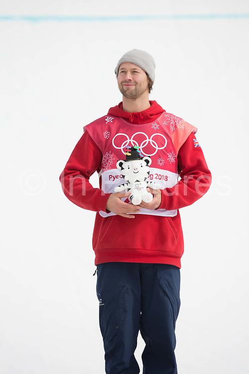 Billy Morgan, Great Britain, at the mens snowboard big air flower ceremony at the Pyeongchang 2018 Winter Olympics on 24th February 2018, at the Alpensia Ski Jumping Centre in Pyeongchang-gun, South Korea
