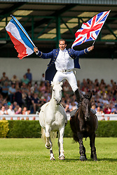 © Licensed to London News Pictures. 12/07/2018. Harrogate UK. Lorenzo known as the flying frenchman performs for the crowds on the final day of the 160th Great Yorkshire show in Harrogate. Photo credit: Andrew McCaren/LNP