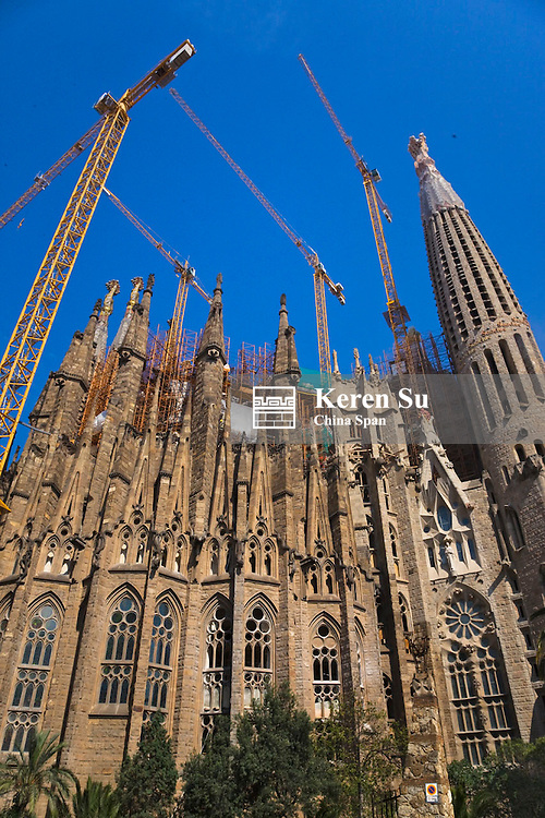 Antoni Gaudi's famed Sagrada Familia (a massive Roman Catholic church under construction which begain in 1882 and continues to this day and scheduled to be completed in 2026), Barcelona, Spain