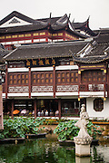 View of the building around the Huxinting Teahouse in Yu Yuan Gardens Shanghai, China