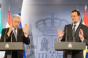 "The Prime Ministers of Italy and Spain Mario Monti and Mariano Rajoy, joking about ""lapsus"" of Italian president"