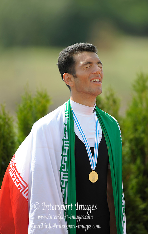 Racice CZECH REPUBLIC.    Gold Medalist, men's lightweight single sculls,  IRI BLM1X, Mohsen SHADI  NAGHADEH,   at the FISA World U23 Championships, held on the Racice Rowing Course, Sunday - 26/07/2009  [Mandatory Credit Peter Spurrier/ Intersport Images]