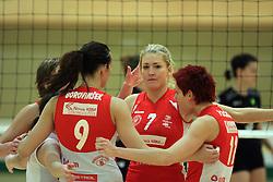 Maja Gustin (7) of OK Branik at semifinal of 1st DOL volleyball match between OK Sloving Vital, Ljubljana and OK Nova KBM Branik, Maribor played in BIC center, on April 1, 2009, in Ljubljana, Slovenia. Nova KBM Branik won 3:1. (Photo by Vid Ponikvar / Sportida)