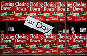 Closing Down Sale signs in the window of a shop in central London. Due to the economic downturn, many shops are closing.