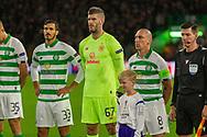 Celtic Captain Scott Brown alongside keeper Fraser Forster & Hatem Elhamed during the Europa League match between Celtic and CFR Cluj at Celtic Park, Glasgow, Scotland on 3 October 2019.